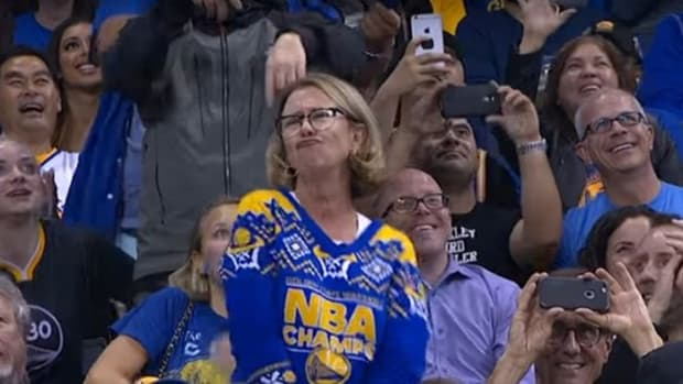 Mom Dancing At Warriors Game