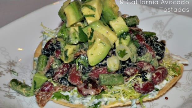 Smoky Bean, Bacon & California Avocado Tostadas