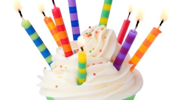 Cupcake decorated with lots of brightly colored candles