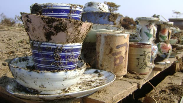 Housewares recovered after the tsunami