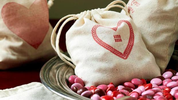 Valentine Craft Stamped Muslin Bags