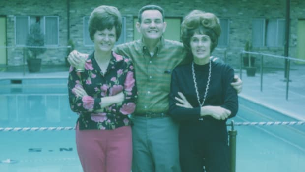 """My grandmother is the one on the right. This photo was taken shortly after she was diagnosed And yes, she's wearing a """"wiglet""""."""