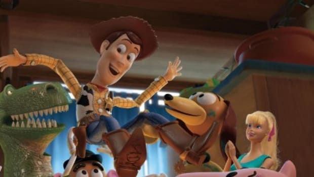 TOY STORY 3, Jessie (left, voice: Joan Cusack), Mr. Potato Head (center, voice: Don Rickles), Woody