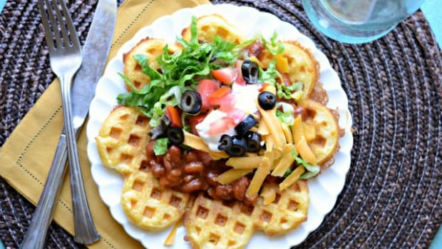 Cornbread Waffles with Chili | Bless this Mess