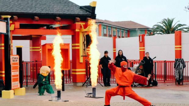 Kai, Master of Fire, showing off his skills at LEGOLAND California's NINJAGO World. (Photo: Michelle Rae Uy)