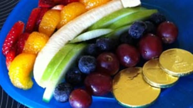 Rainbow Fruit Plate with Gold Coins