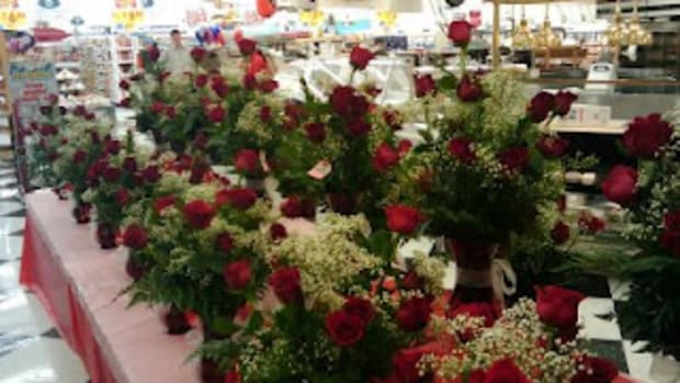 red roses babys breath