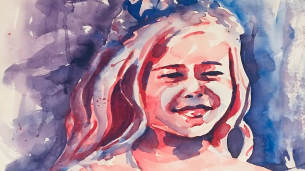 Custom, personalized watercolor art of young girl with flower headband