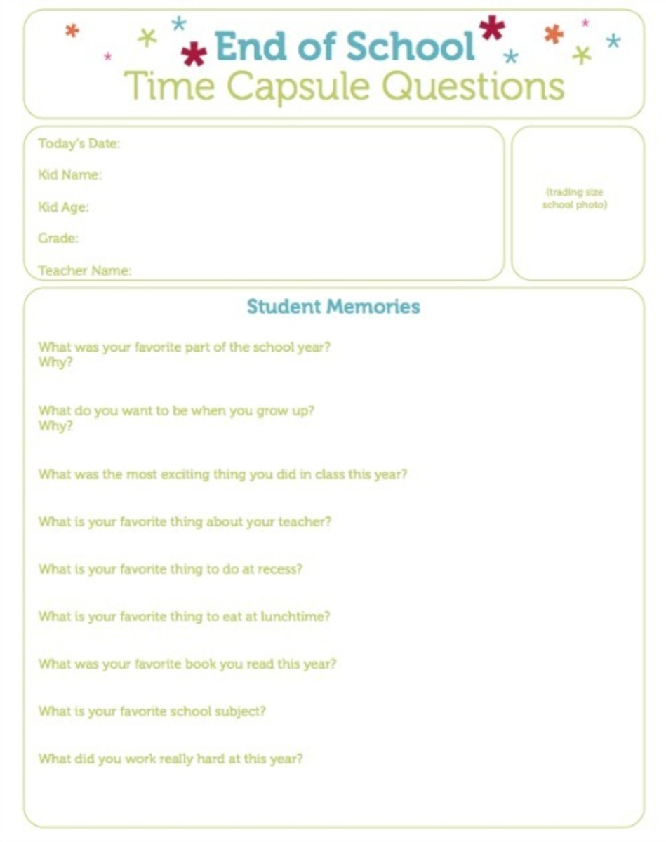 graphic about Time Capsule Printable identify Close of College or university Period Capsule Issues Printable - Todays Mama