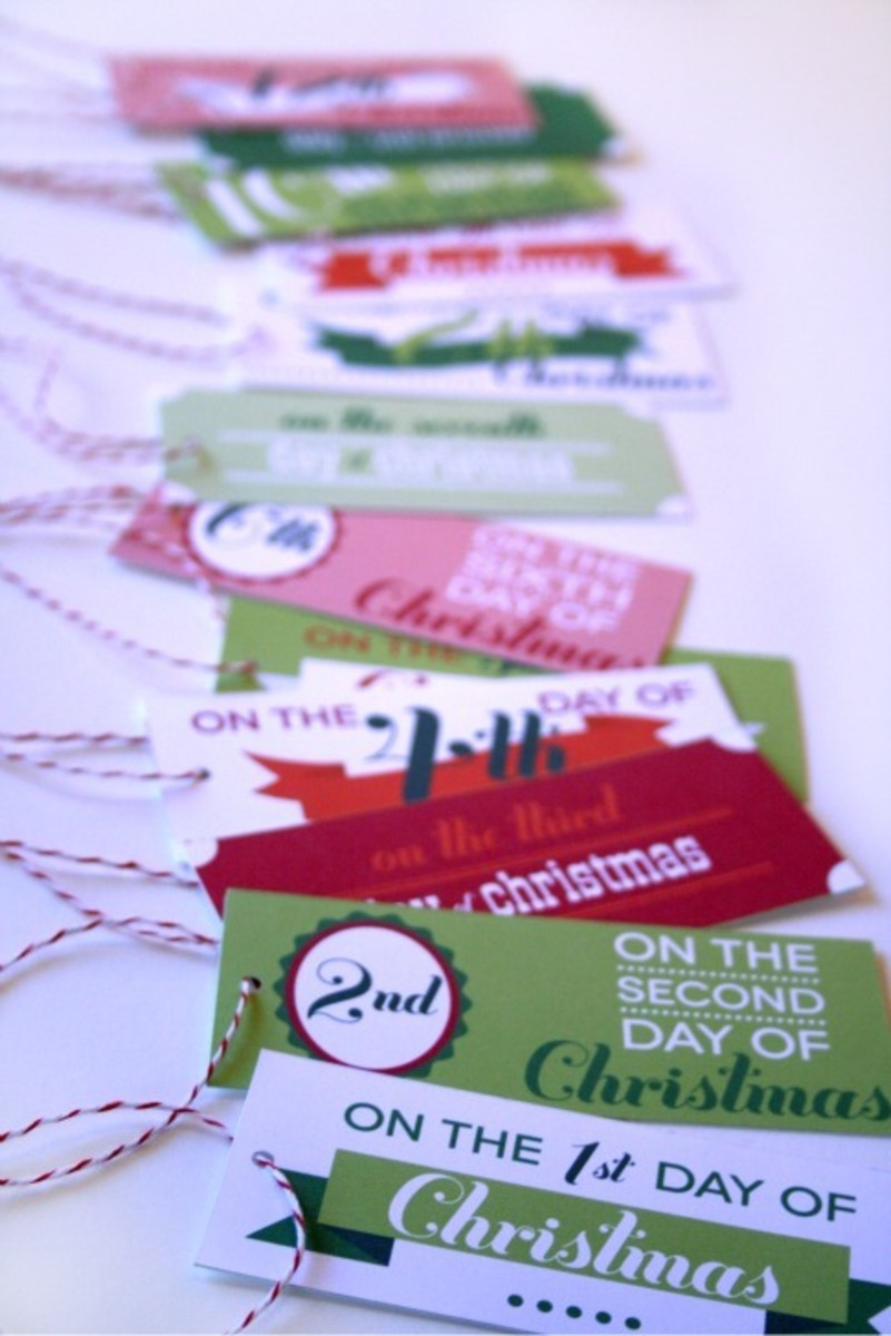 image relating to 12 Days of Christmas Printable Tags titled Printable 12 Times of Xmas Tags - Todays Mama