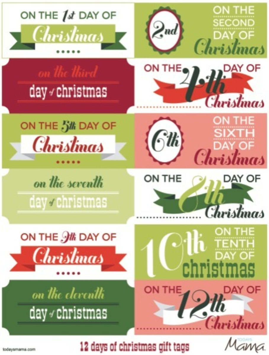 picture about 12 Days of Christmas Printable identify Printable 12 Times of Xmas Tags - Todays Mama