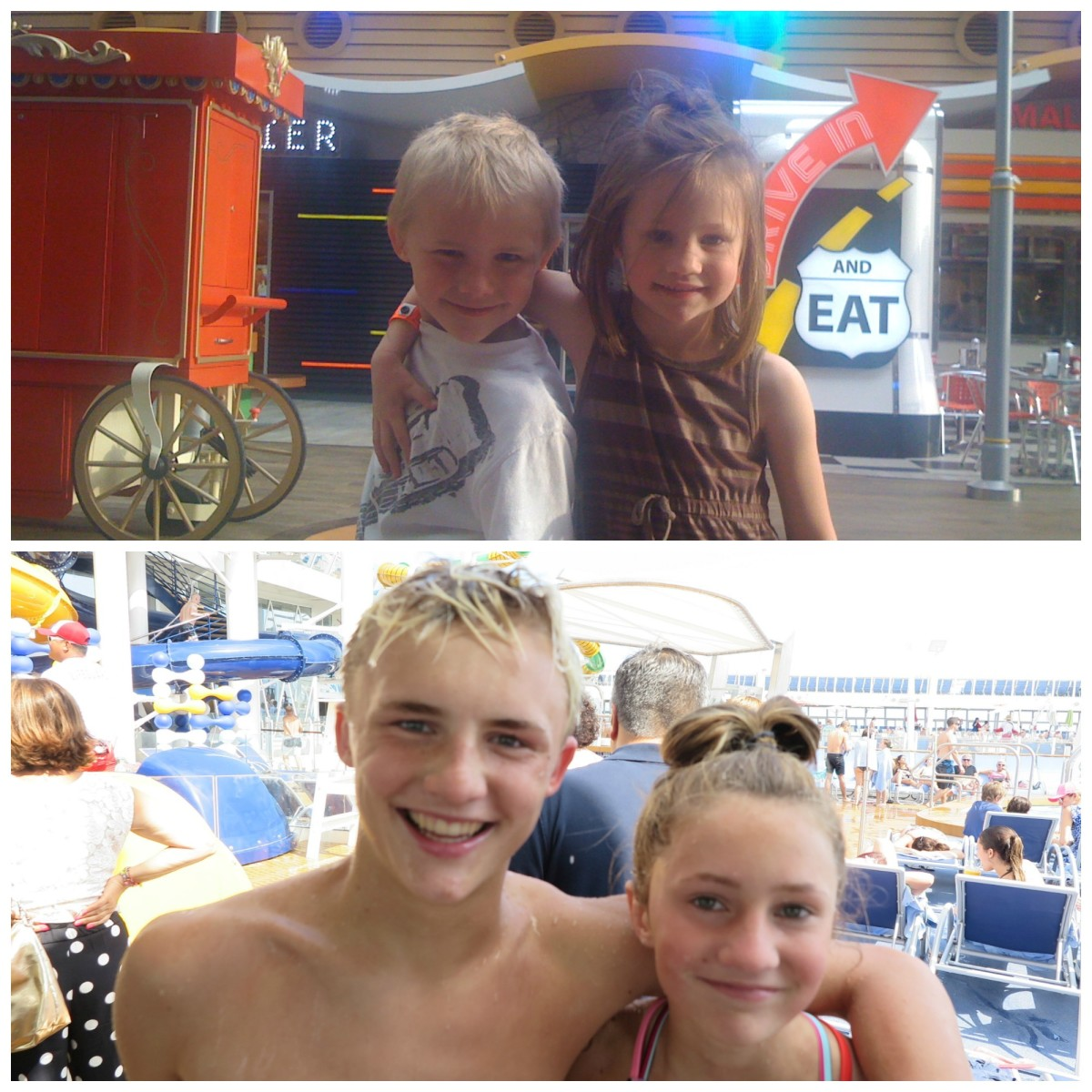 (On the Boardwalk on Oasis of the Seas, 2010 vs. On the Pool Deck of the Symphony of the Seas, 2018)