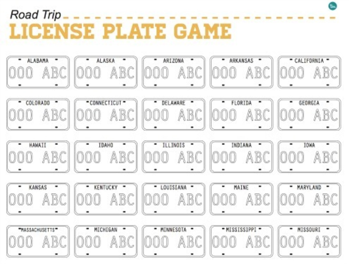 photograph about License Plate Game Printable named Printable License Plate Video game - Todays Mama