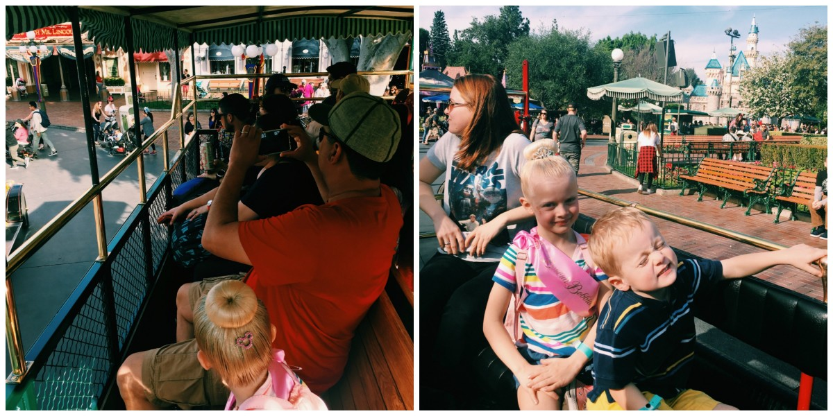 Disneyland with toddlers buses collage