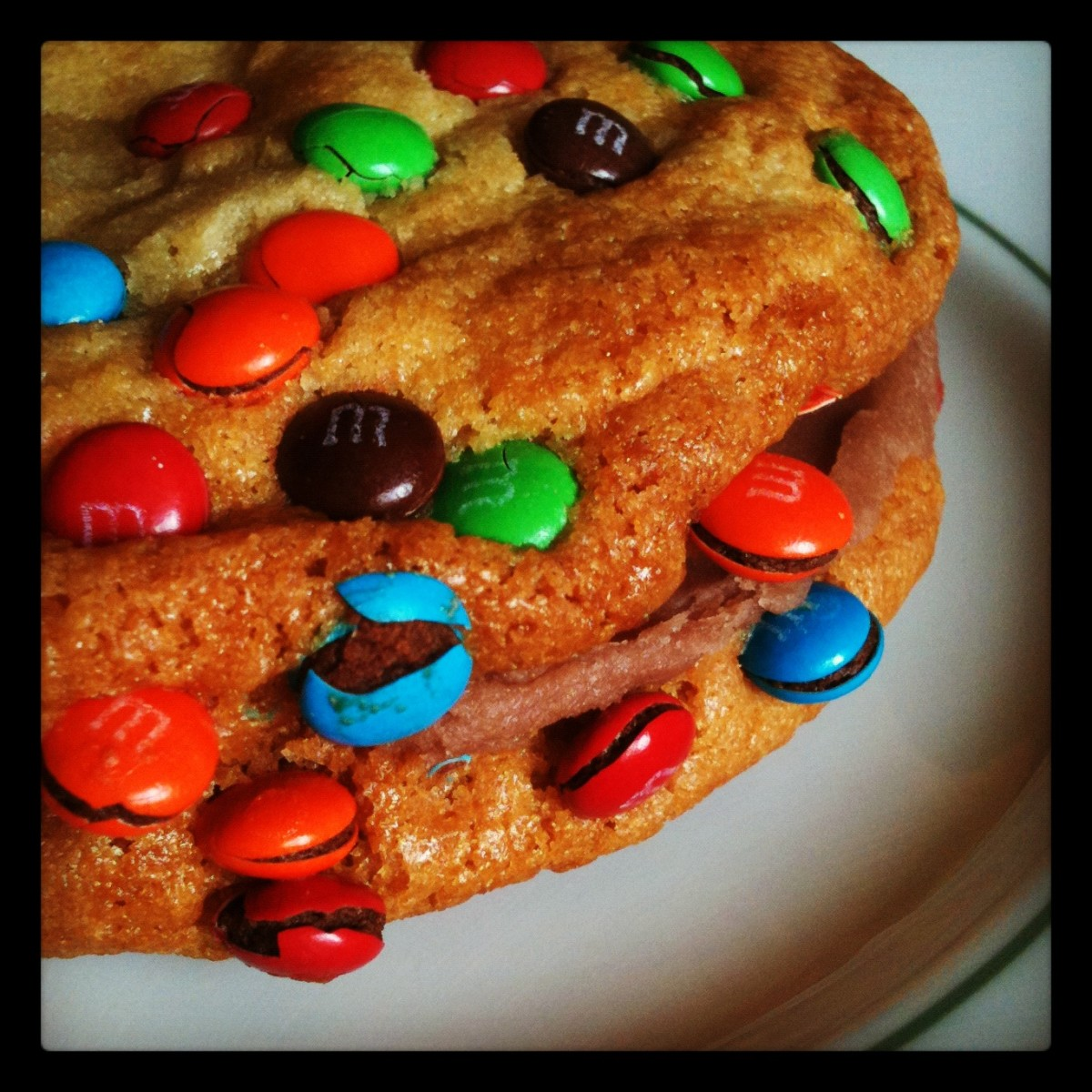 That's two M&M cookies, with chocolate buttercream sandwiched between them.