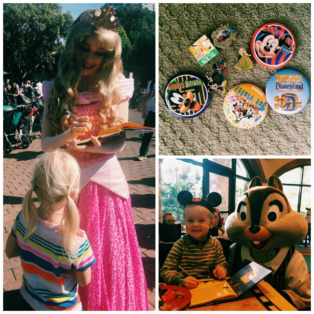 Disneyland with toddlers and autograph pin collage