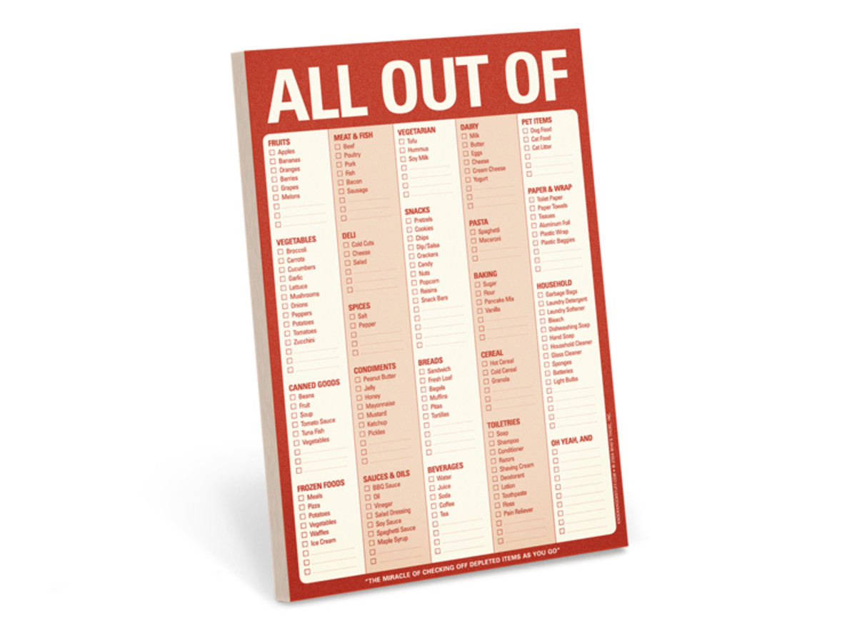 Big List of Grocery Shopping Lists - All Out Of by KnockKnock