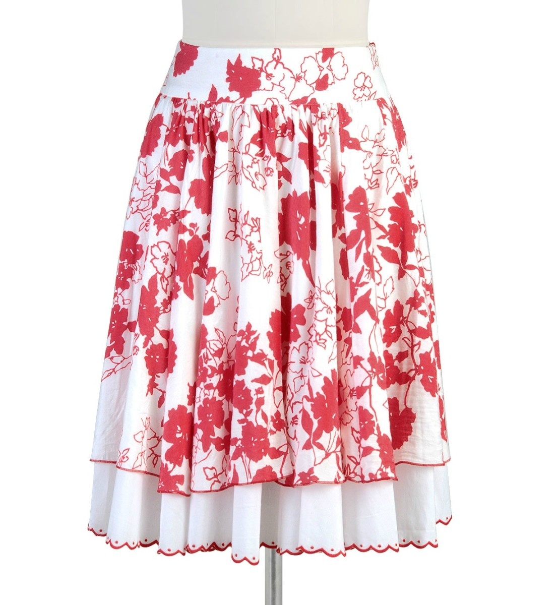 red and white skirt crop