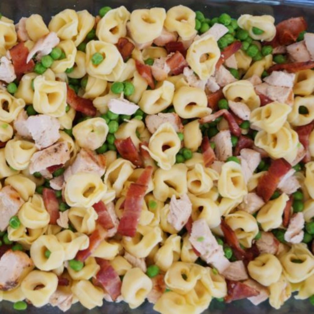 Baked Cheesy Bacon Chicken Tortellini