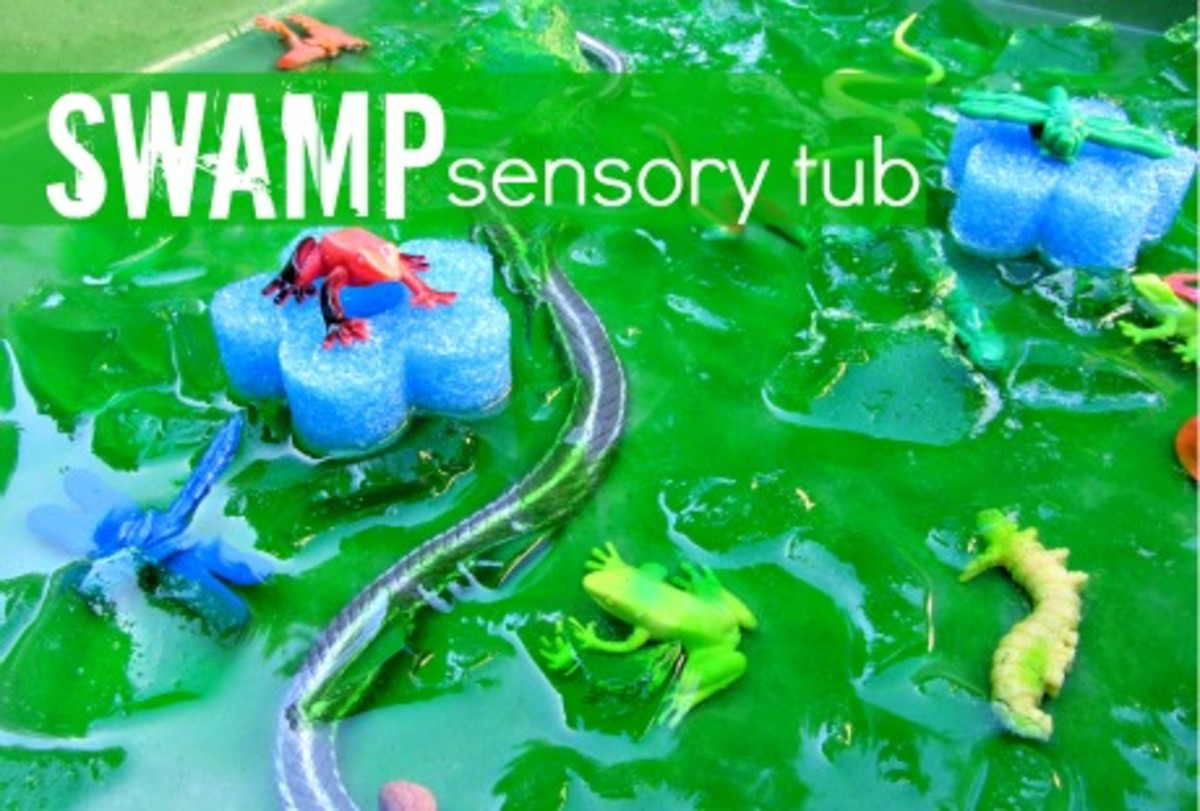 Swamp Sensory Tub from No Time for Flashcards