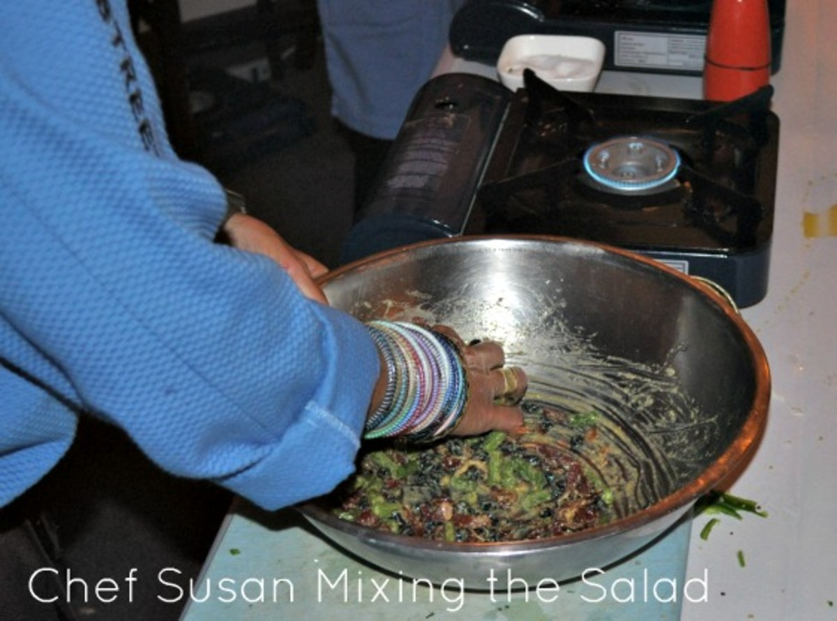 Chef Susan Mixing the Salad