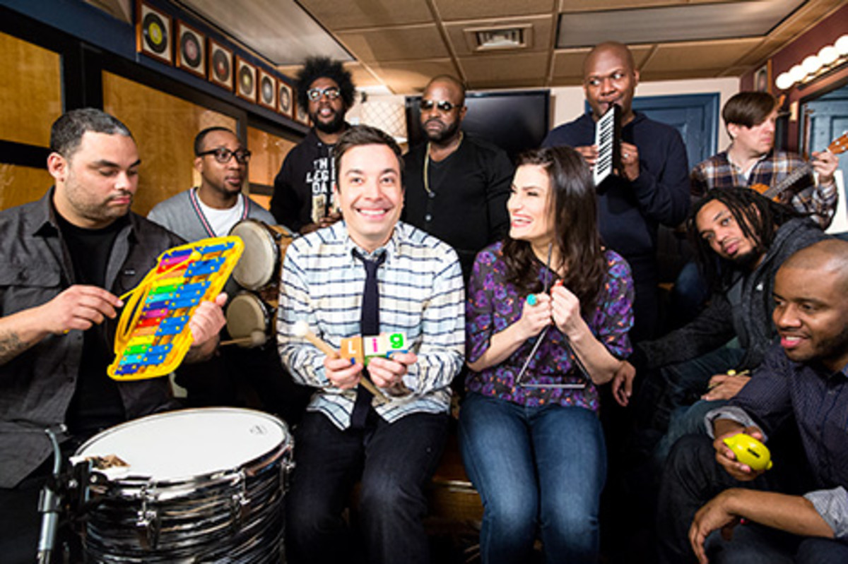 """Jimmy Fallon & The Roots and Indina Menzel Sing """"Let it Go"""""""