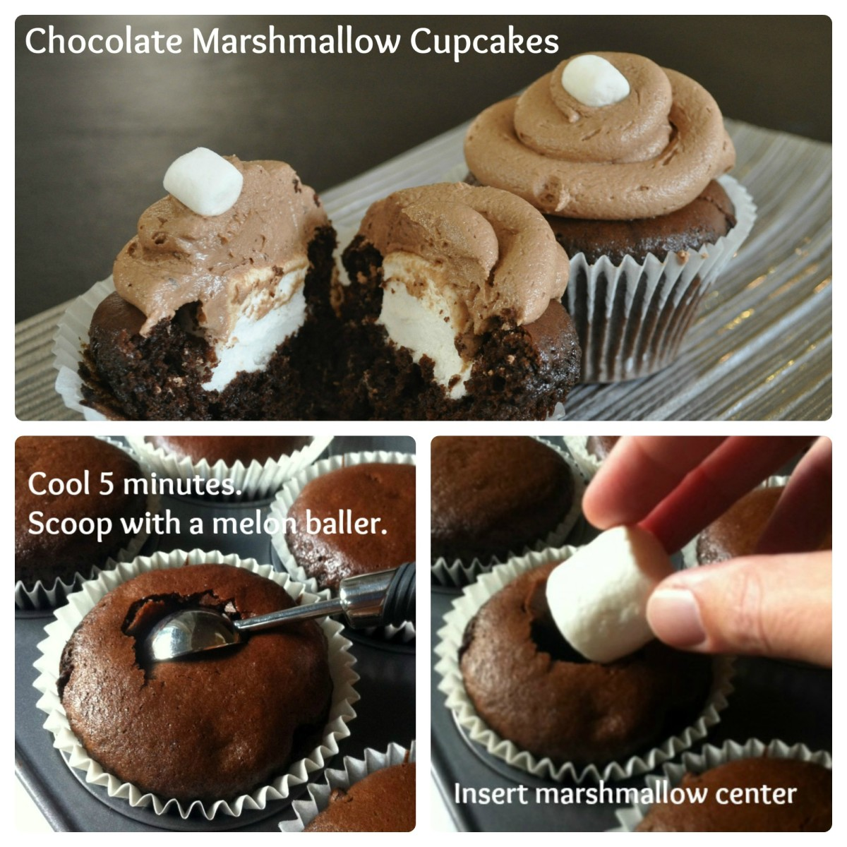 Chocolate Marshmallow Cupcakes Step by Step