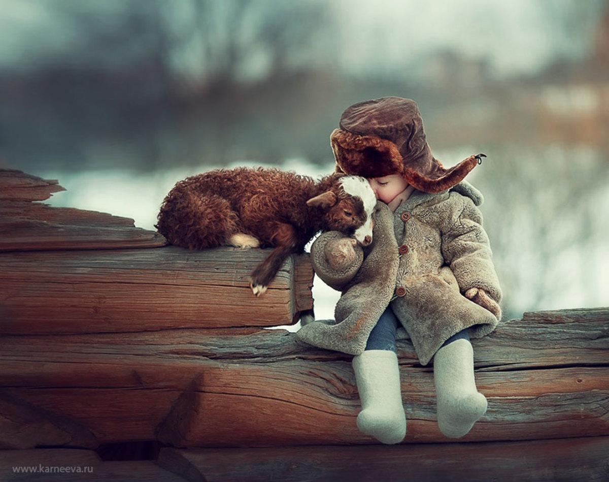 Baby animals and children