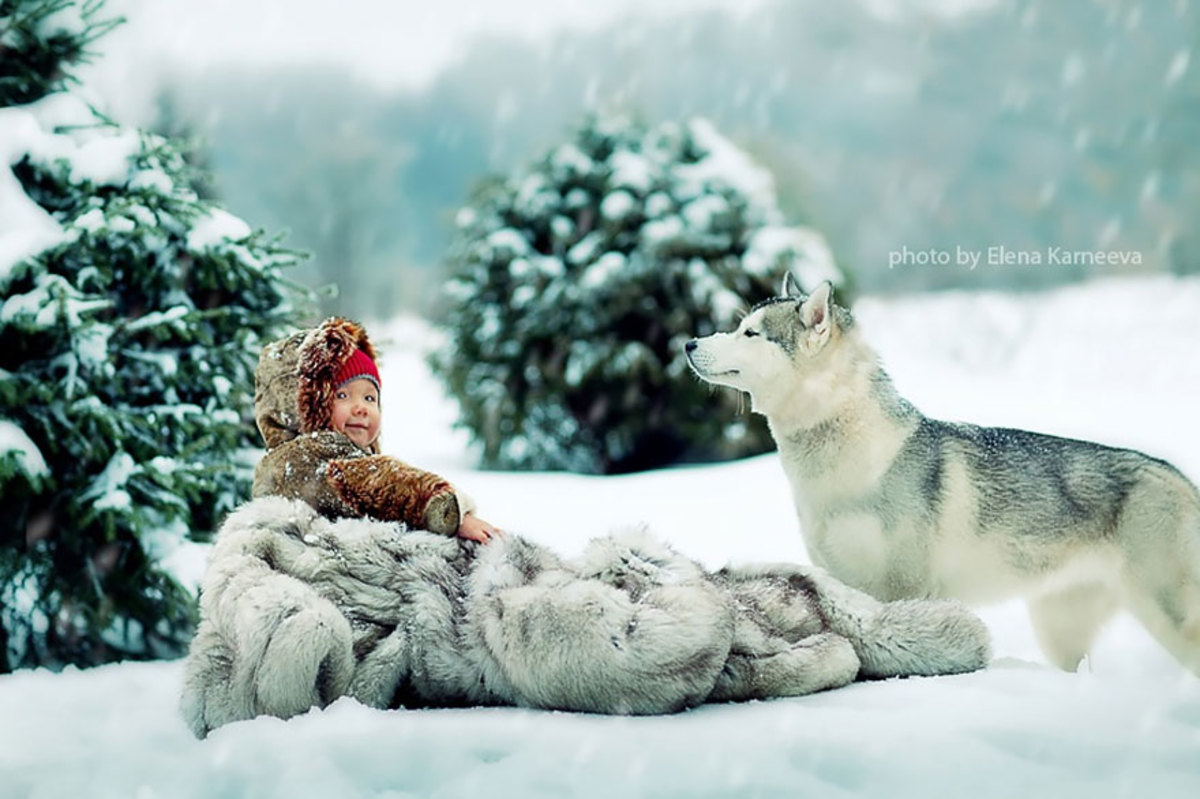 Baby phtographed in the winter