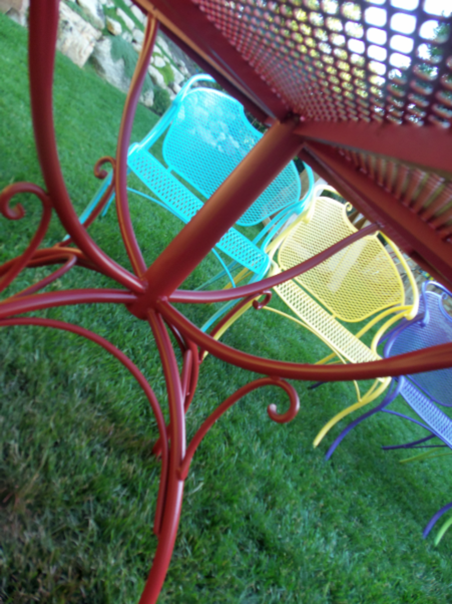 red wrought iron table