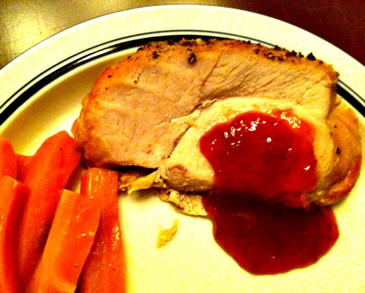 Pepper Crusted Pork Roast with Strawberry Balsamic Jam Sauce