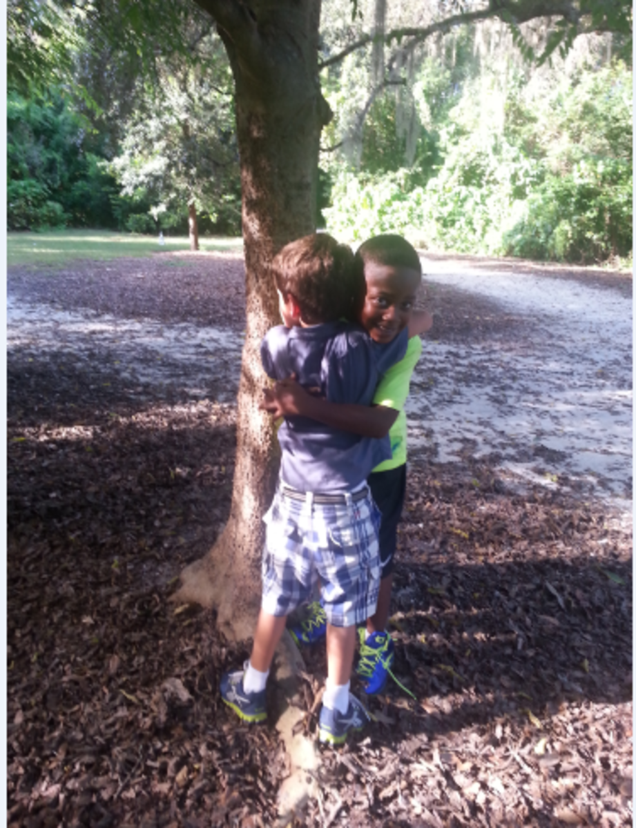 My son's buddy Dallas moved away, so there's a lot of hugging that goes on when they reunite.