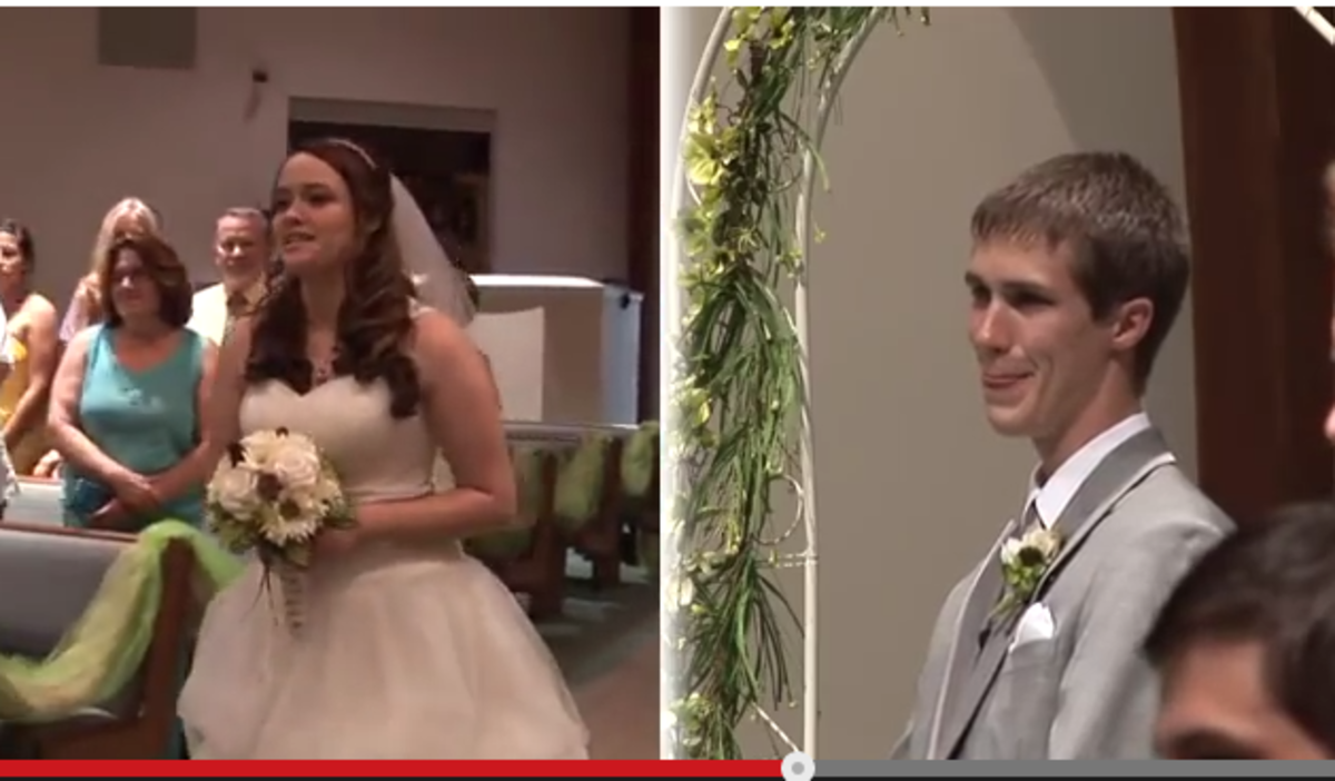 Bride Sings To Groom As She Walks DOwn Aisle -Wow! www.TodaysMama.com
