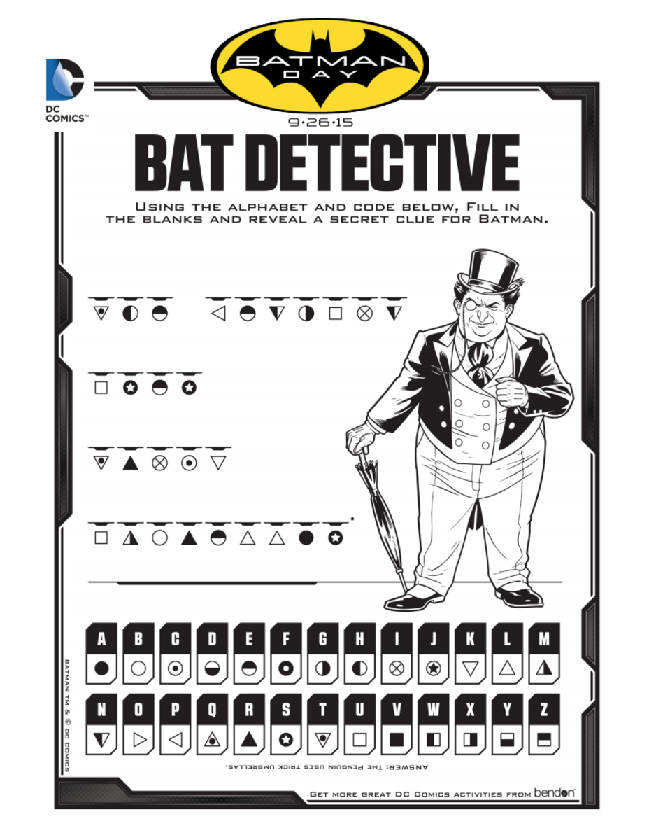 Bat Detective Decoder Batman Activity Page