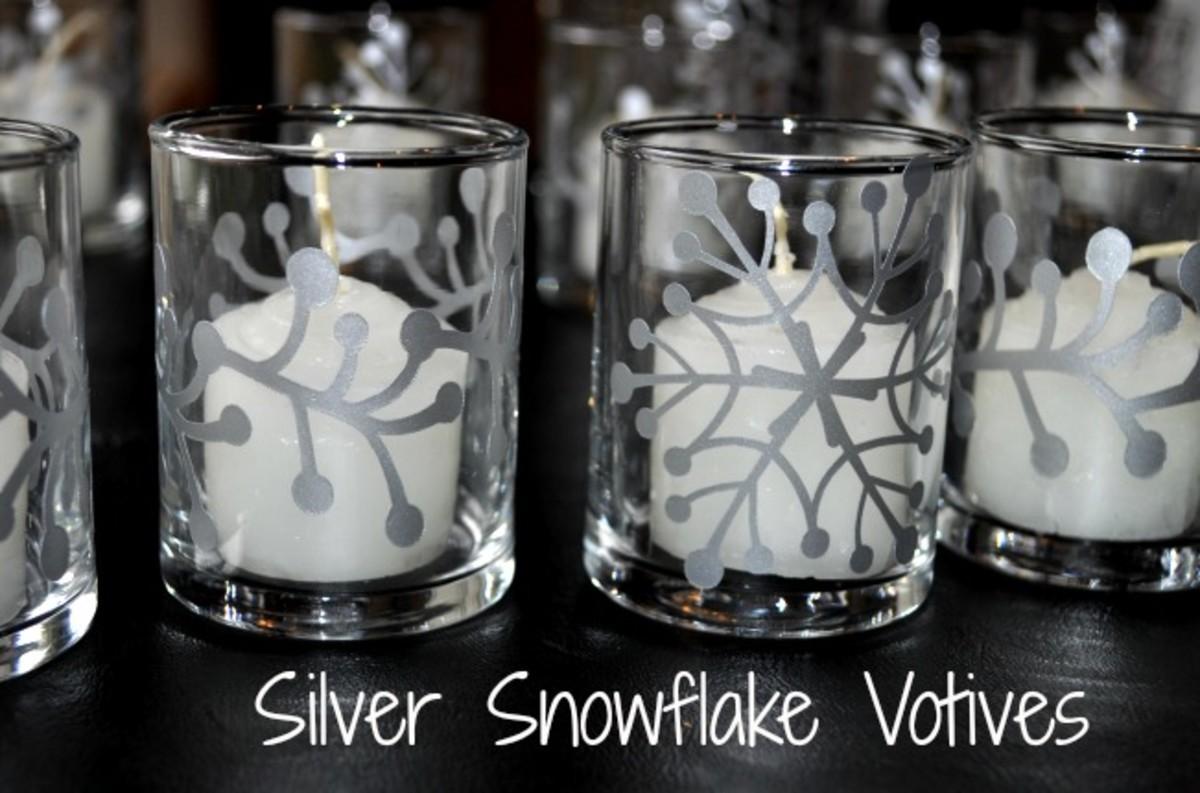 Silver Snowflake Votives - Silhouette Project - TodaysMama.com