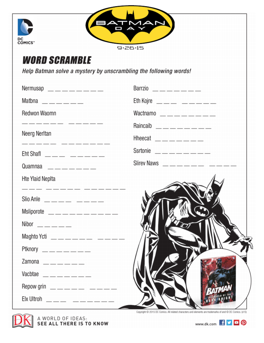 Printable Batman Word Scramble