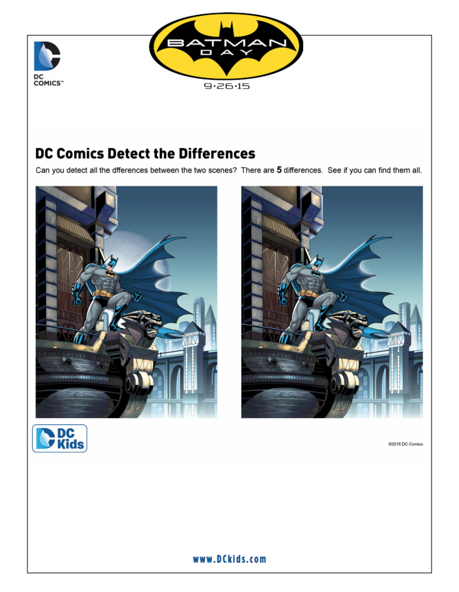 Batman Activity Printable: Spot the Differences