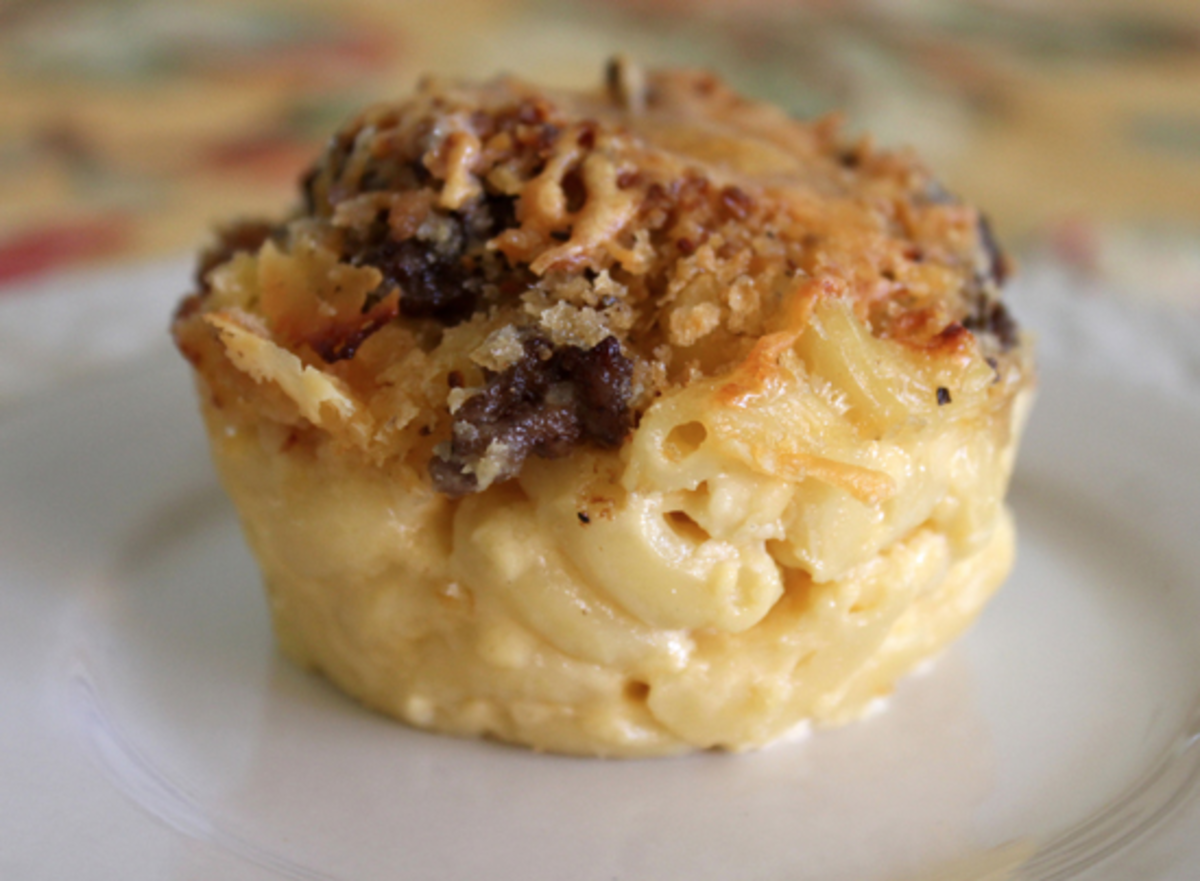 Mac and cheese in a muffin tin