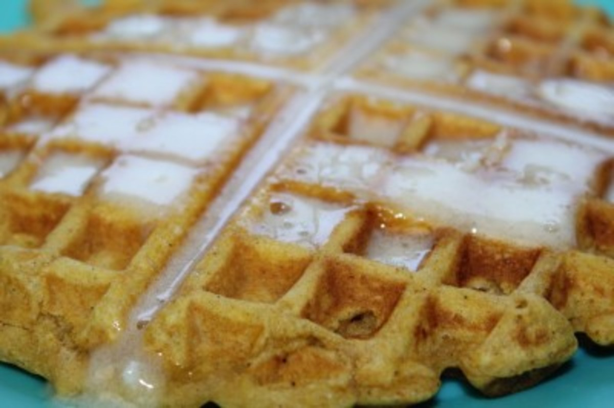 Pumpkin Waffles and butter syrup