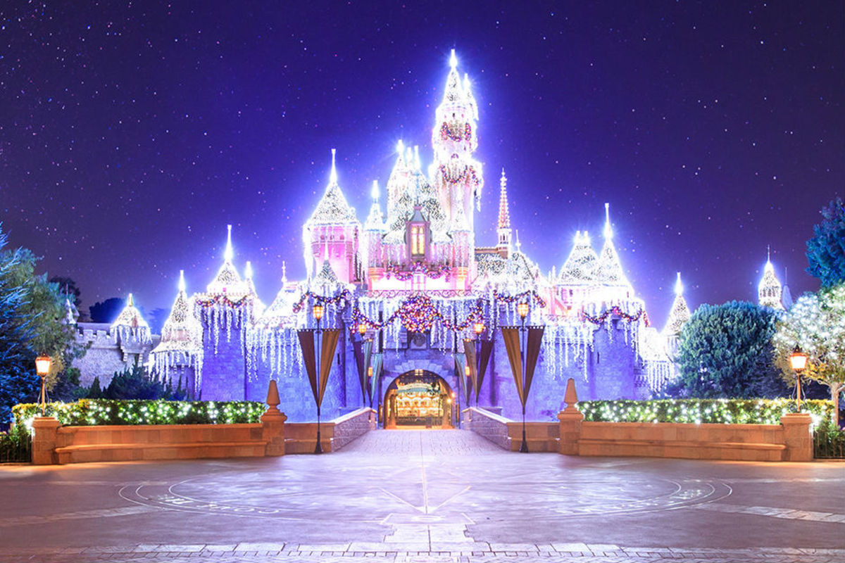 The Sleeping Beauty Castle at Disneyland glistens during the holiday season. (Courtesy Disney)