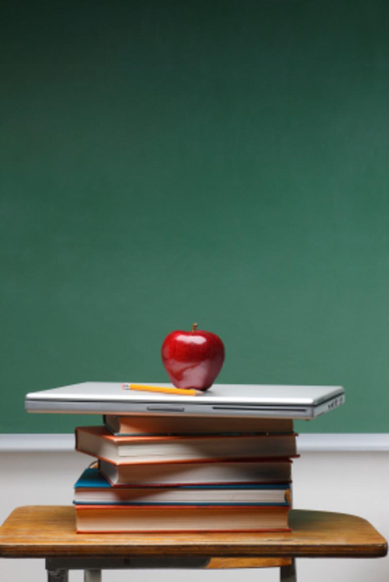 school room books teacher apple