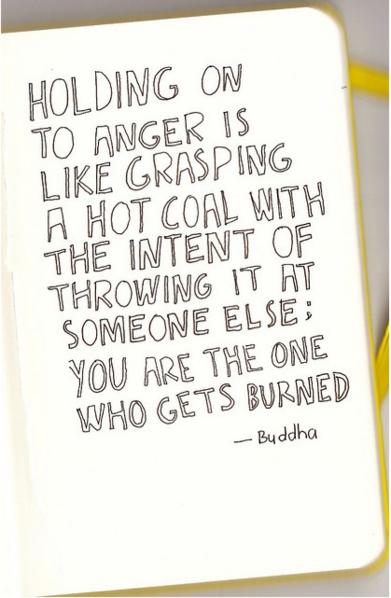 Holding on to anger is like grasping a hot coal with the intent of throwing it at someone else: You are the only one who gets burned.