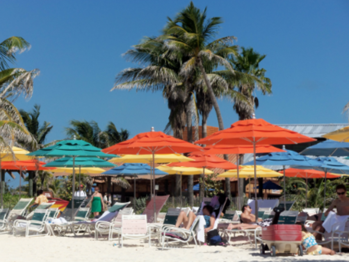 Beach umbrellas on Disney's Castaway Cay