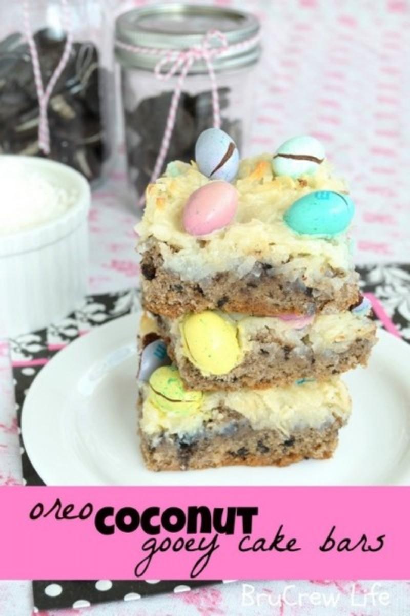 oreo coconut m&m cake bars