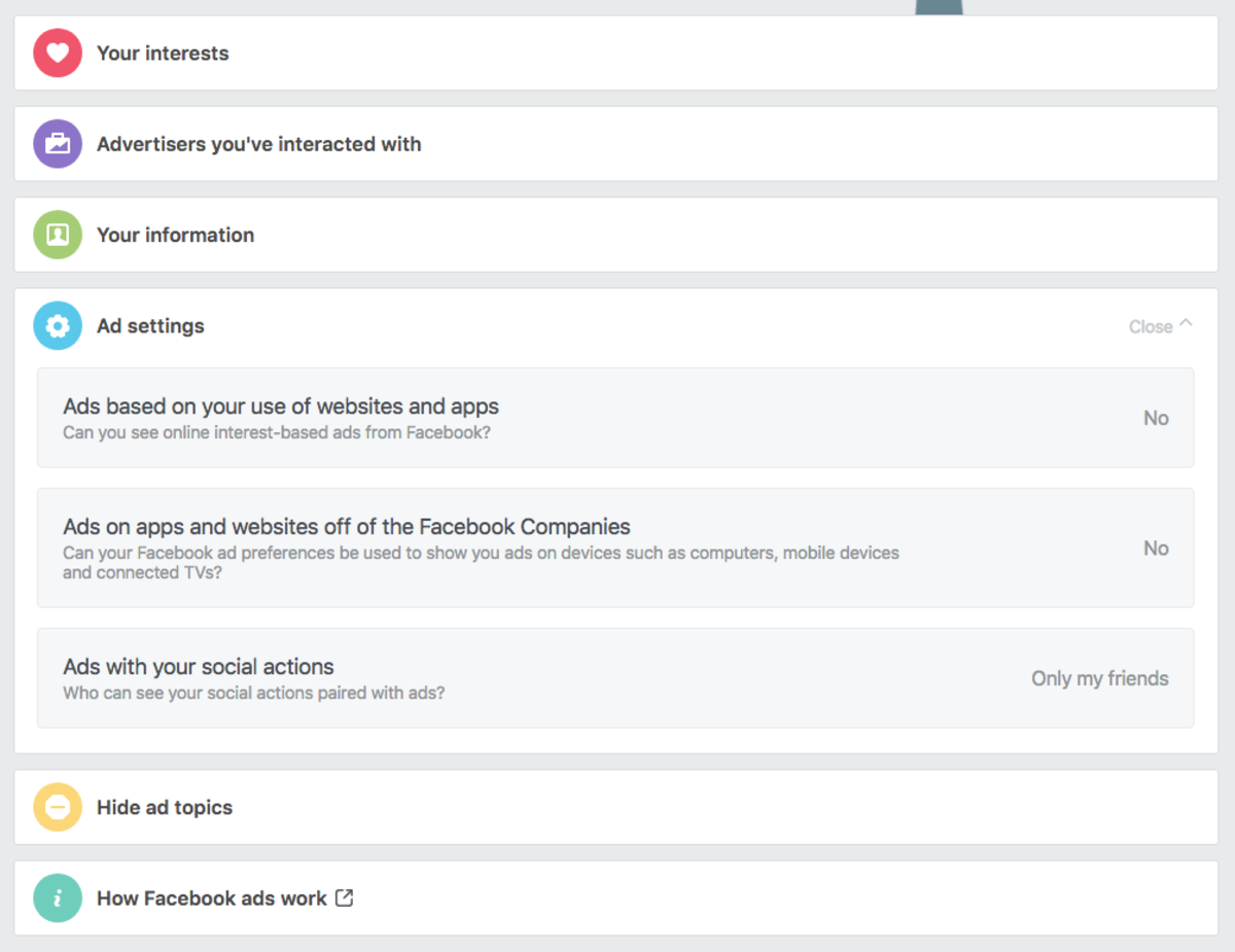 Facebook Ad Preferences Settings