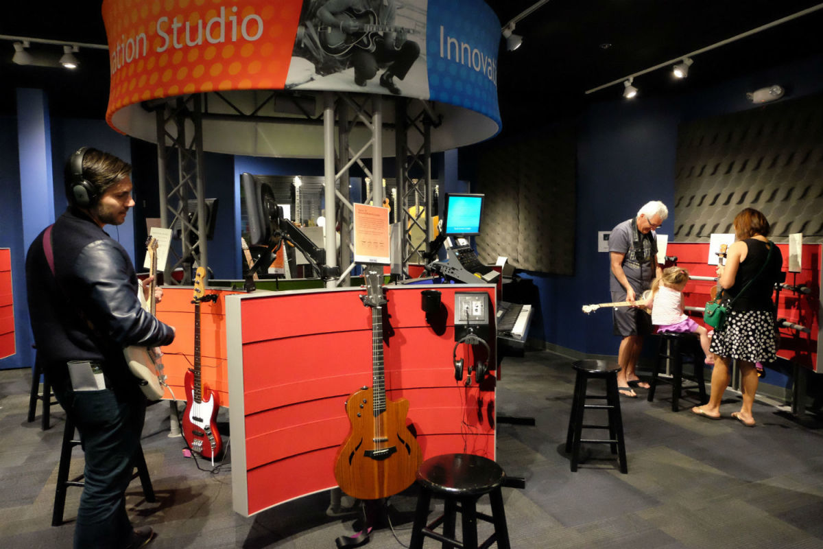 Play musical instruments at the Museum of Making Music in Carlsbad. (Photo: Michelle Rae Uy)