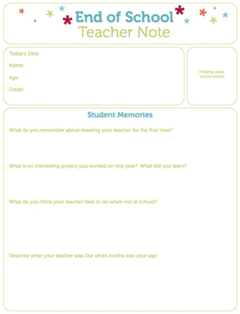 End of School Teacher Note Printable on Today's Mama.com