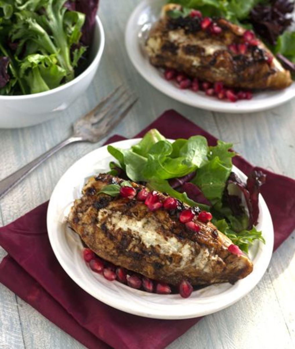 Goat Cheese Stuffed Pomegranate Chicken with Balsamic Reduction | Food Faith Fitness