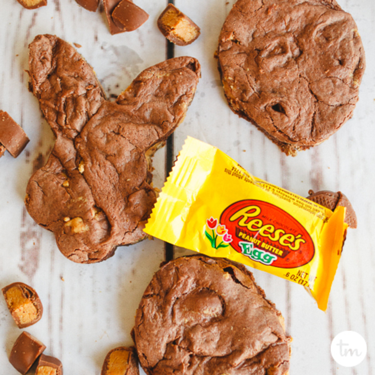 Reese's Peanut Butter Cookies Delicious easy to make cake mix cookies using german chocolate cake mix and chopped reeses peanut butter eggs