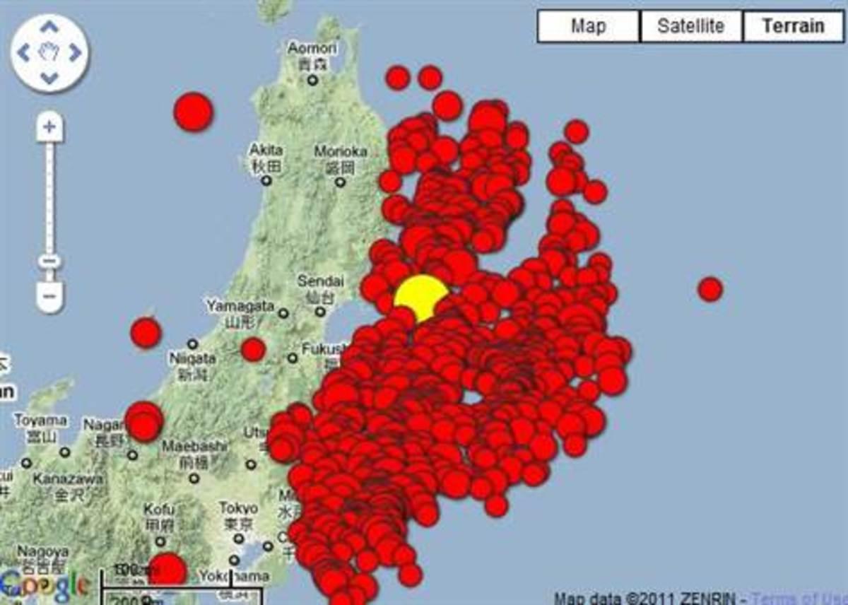 Map of Aftershocks in Japan